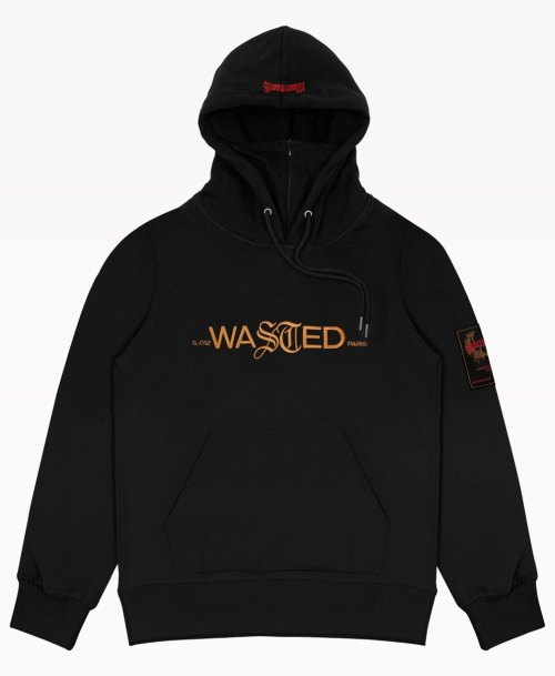 Wasted Essentiel Hoodie Black Front