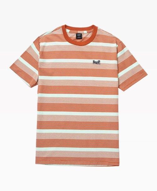 Huf Berkley Stripe Tee Orange Front