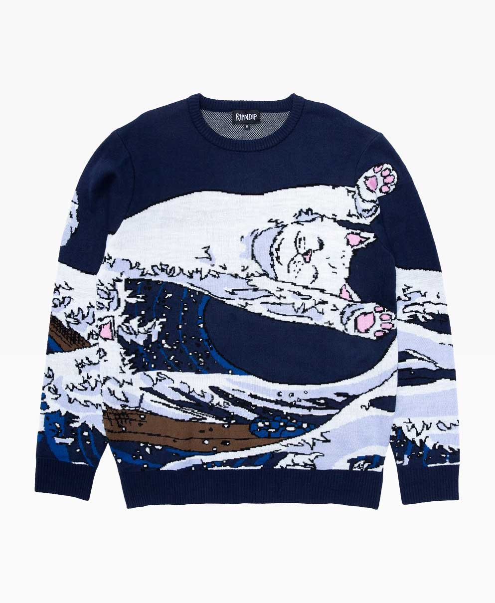 Ripndip Great Wave Crewneck Knit Sweater Front
