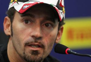 FILE PHOTO: Italy's superbike rider Biaggi talks during a news conference at the Superbike World Championship in Doha