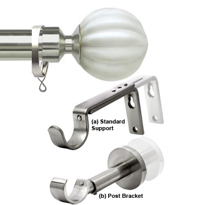 Metal Curtain Poles In Satin Silver & Brushed Steel Finish Poles