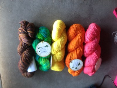 Four La Jolla skeins (the bright ones) and one Anzula Cricket (the left one)
