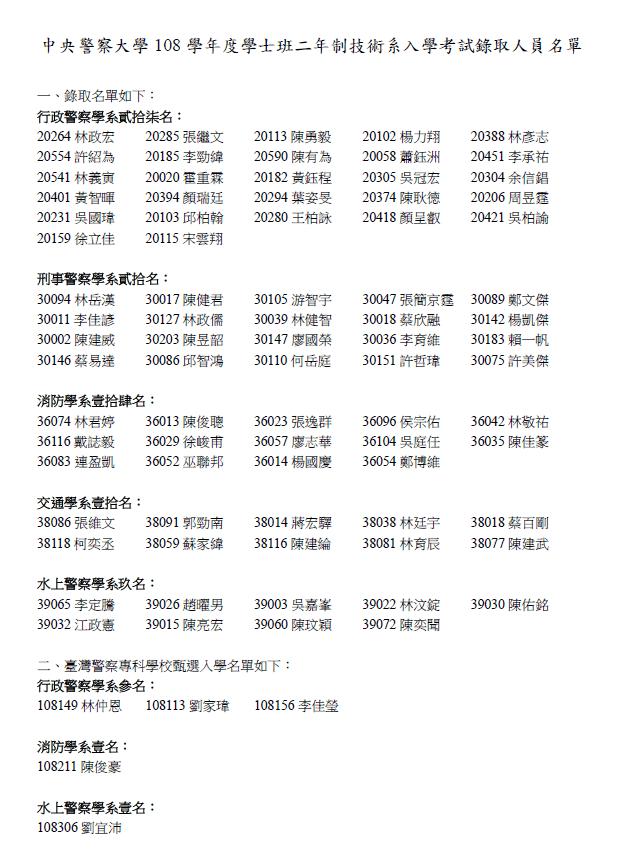 108警大二技錄取名單出爐!!! - 高見公職‧警察考試權威補習班