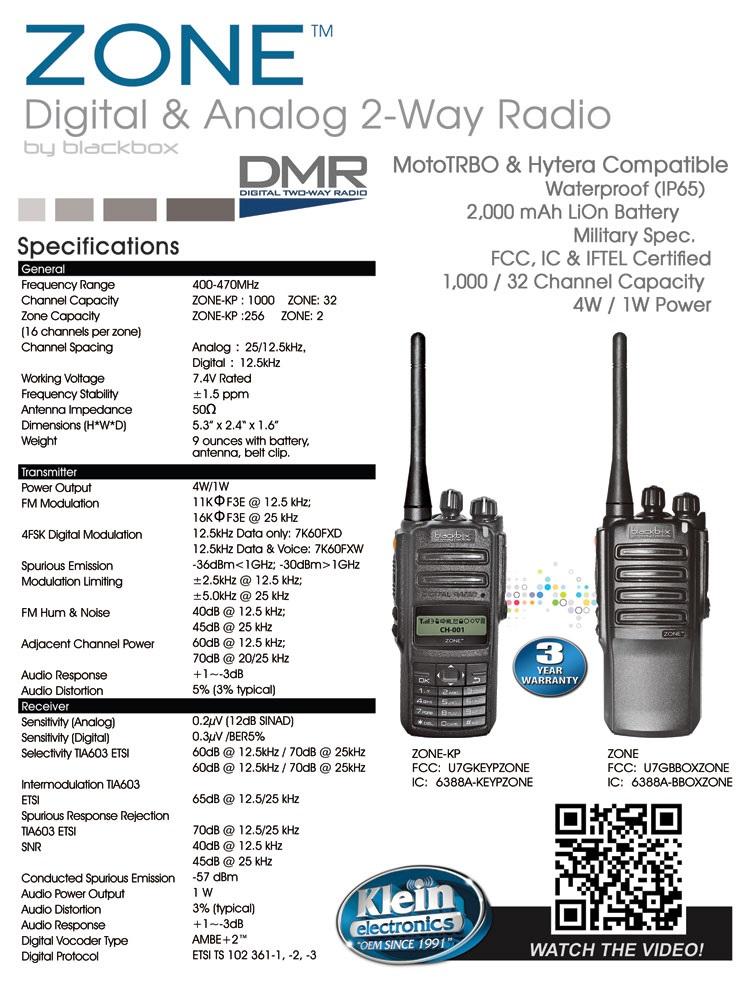 Klein Zone Digital & Analog 2-Way Radio with Keypad