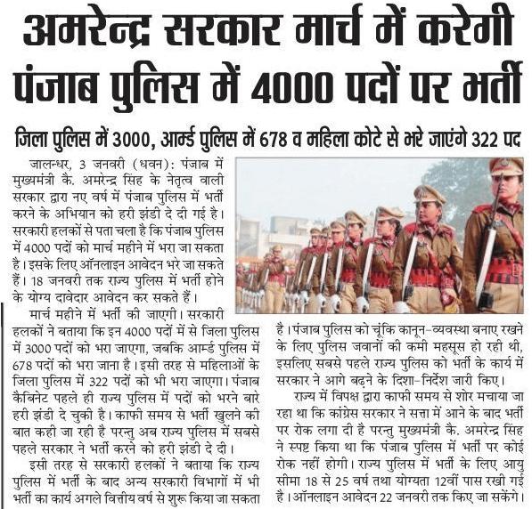 Punjab Police Bharti 2019