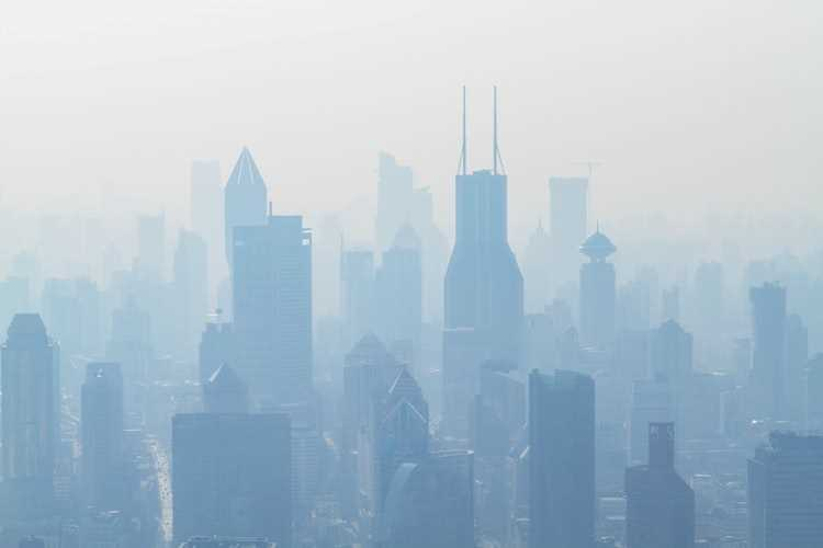 air pollution: a city under smog cover
