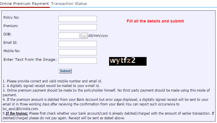 LIC online premium Payment page
