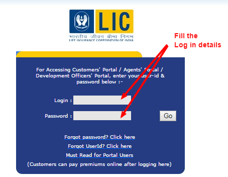 LIC payment online Login page