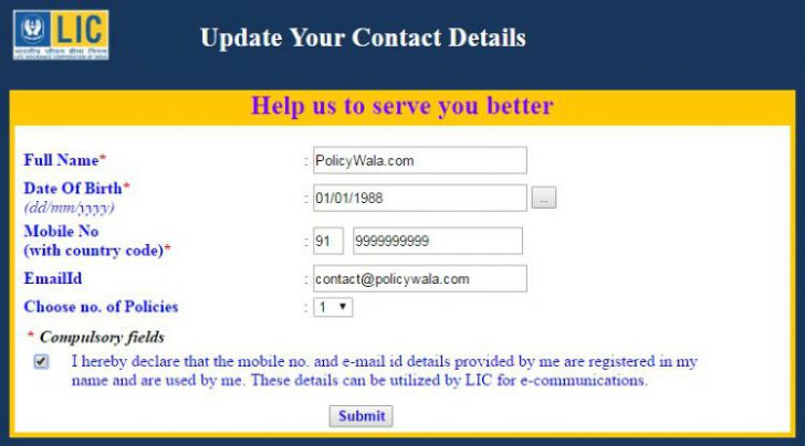 How to Update your LIC Policy Contact details Online ...