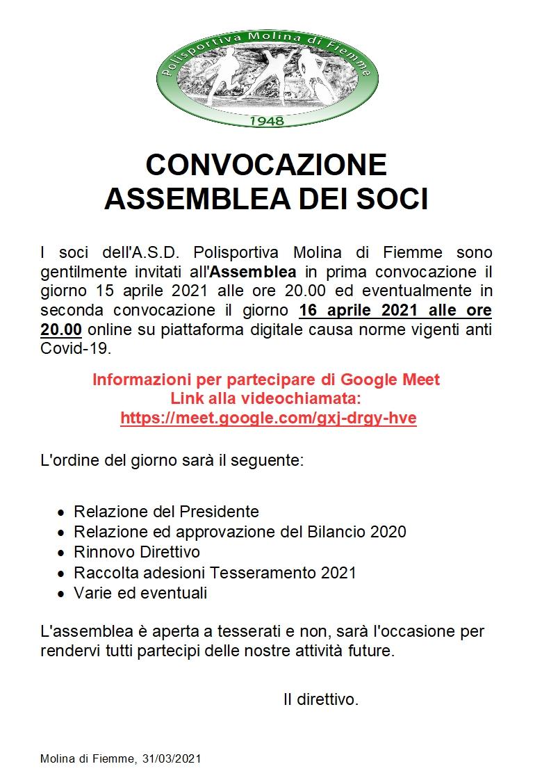 ASSEMBLEA DEI SOCI - APRILE 2021