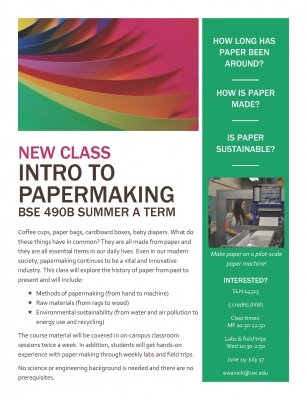 Intro To Papermaking Flyer - Summer 2017