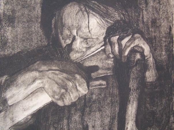 Kathe Kollowitz_1921_Beim Dengeln_298x288