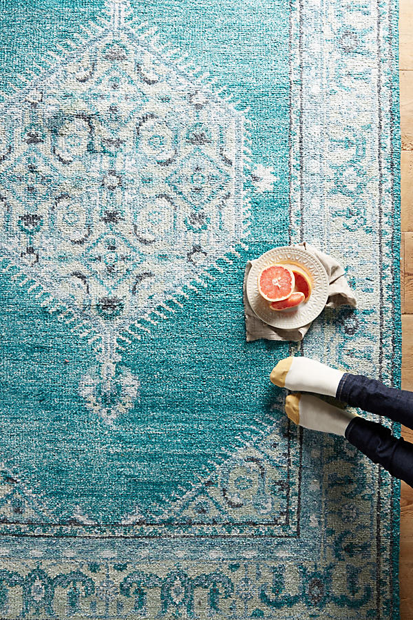 A rug to hide ugly rental floors and tie a room together