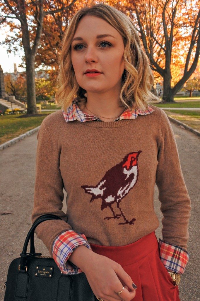 Layer a fun printed sweater with your favorite flannel for Thanksgiving