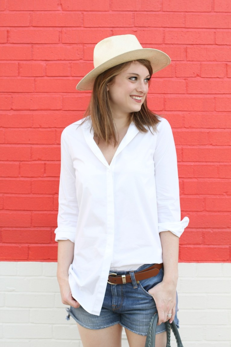 Panama Hat and White Button Up Shirt