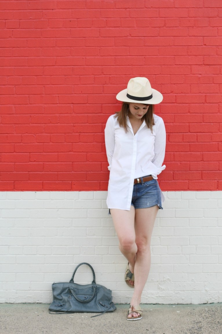 White Button Up Shirt and Jean Shorts and Panama Hat