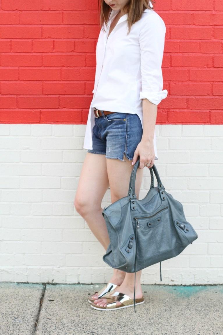 Balenciaga Handbag and Gold Slides