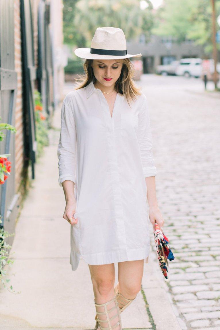 White Shirt Dress and Panama Hat