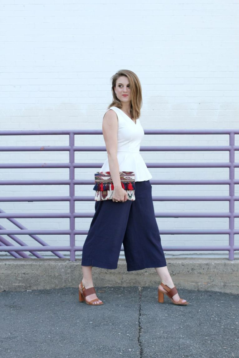 navy culottes and white peplum top