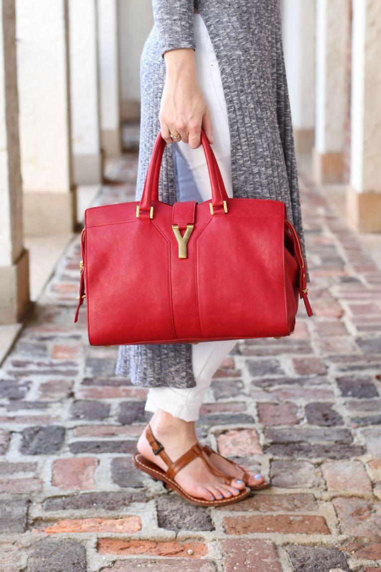 YSL Cabas Tote Red