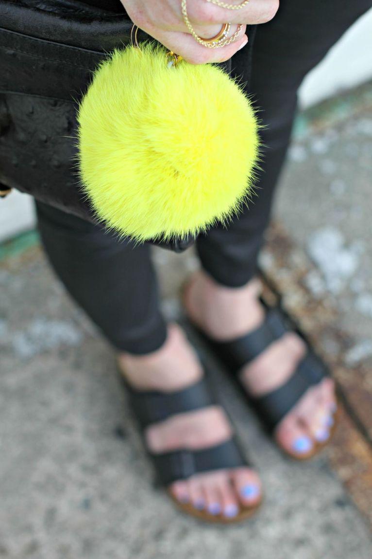 Birkenstocks and purse poof