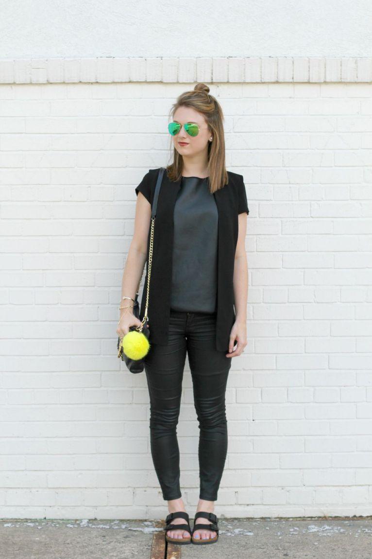 leather-like pants and black birkenstocks