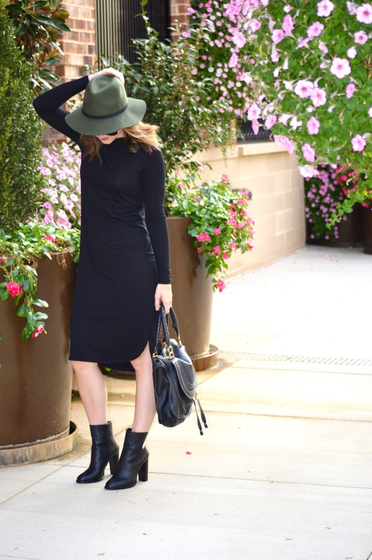 Black Vince Booties and Olive Hat