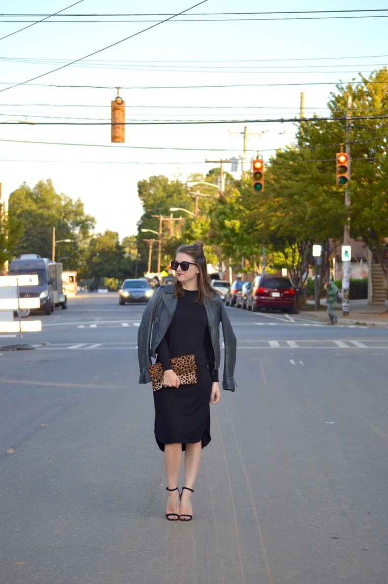 black midi dress and leather jacket