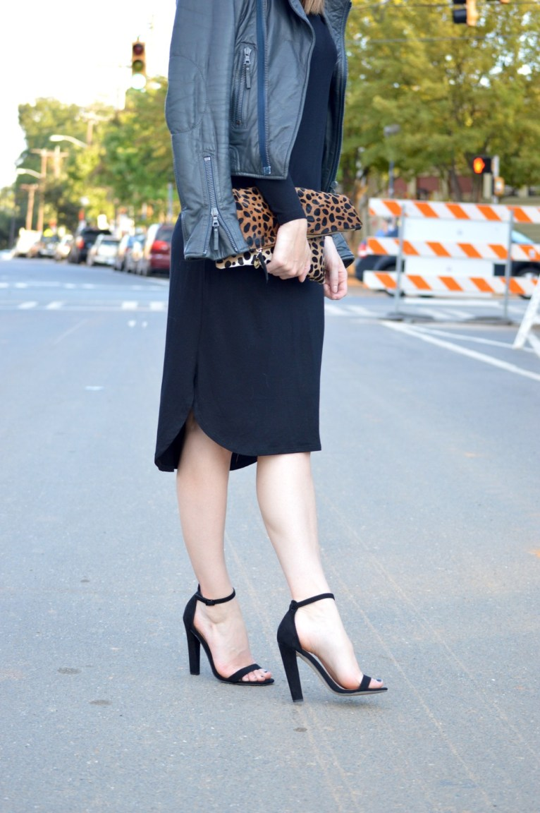 basic heeled sandals and leopard clutch