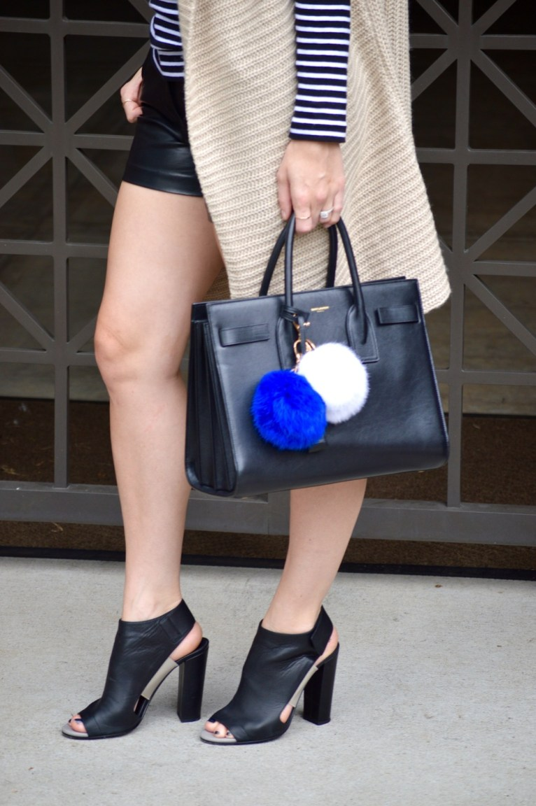 Vince peep-toe booties and leather shorts
