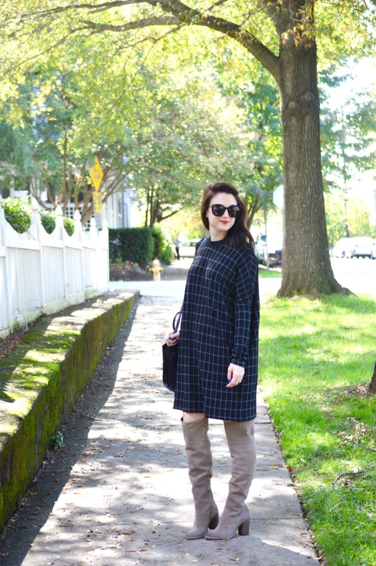 sweater dress and Dolve Vita Okana over the knee boots