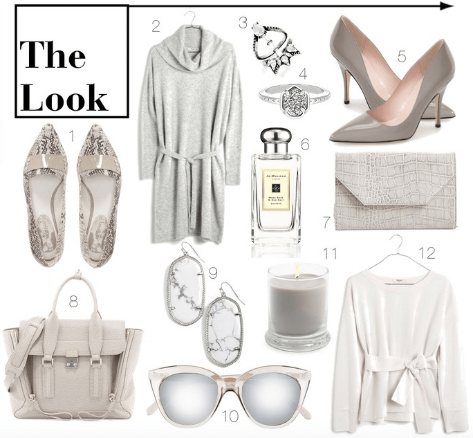 gray and white clothes and accessories