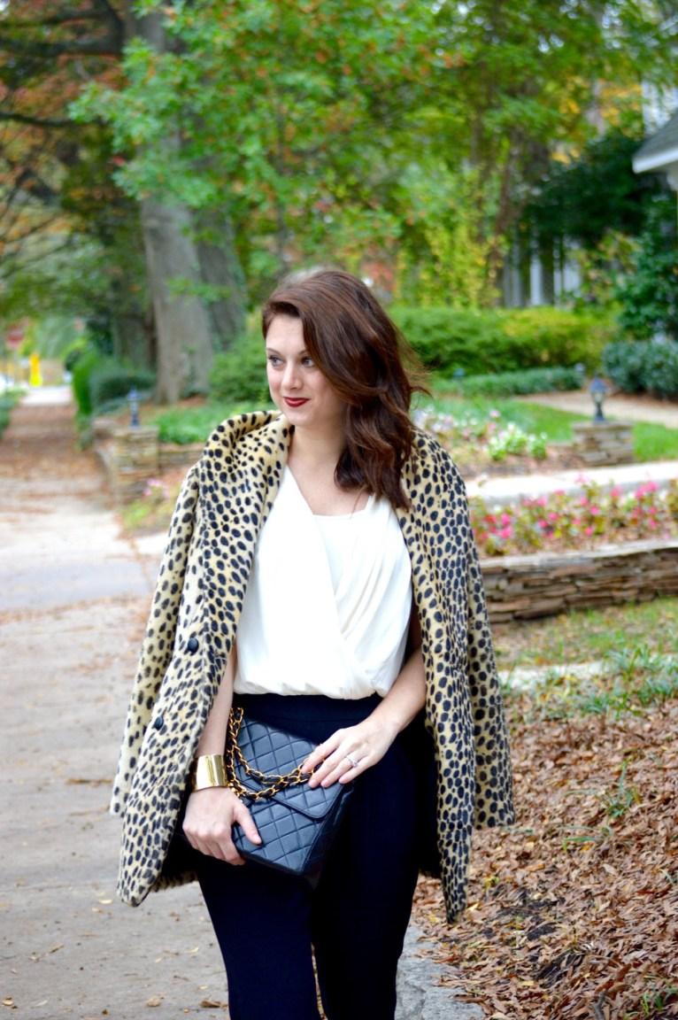Faux fur leopard coat and ella moss jumpsuit