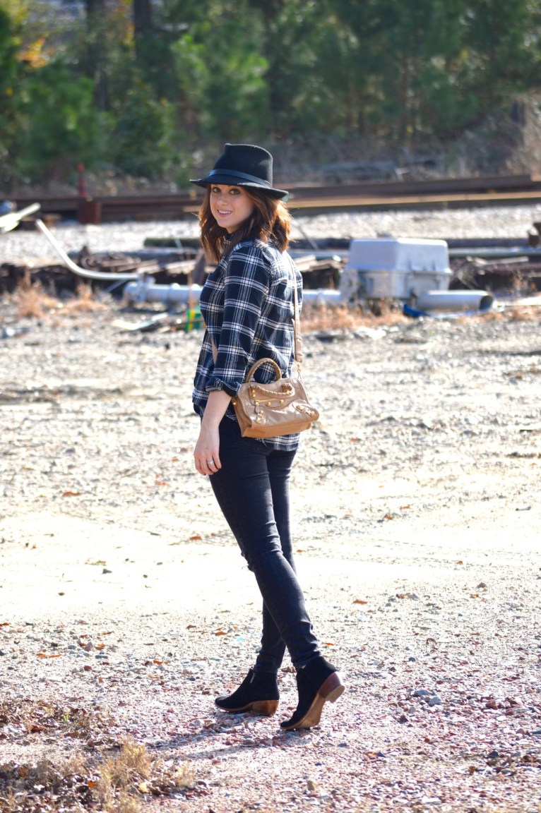 black distressed jeans and plaid shirt