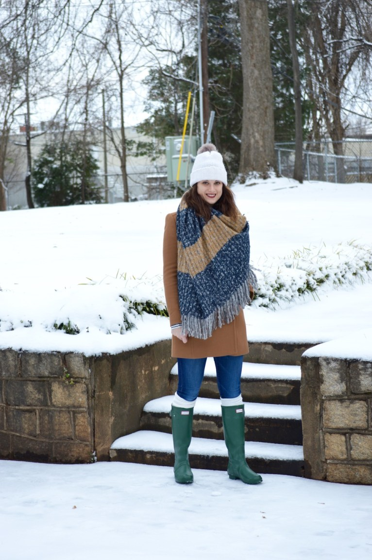 J Crew military coat and chunky scarf