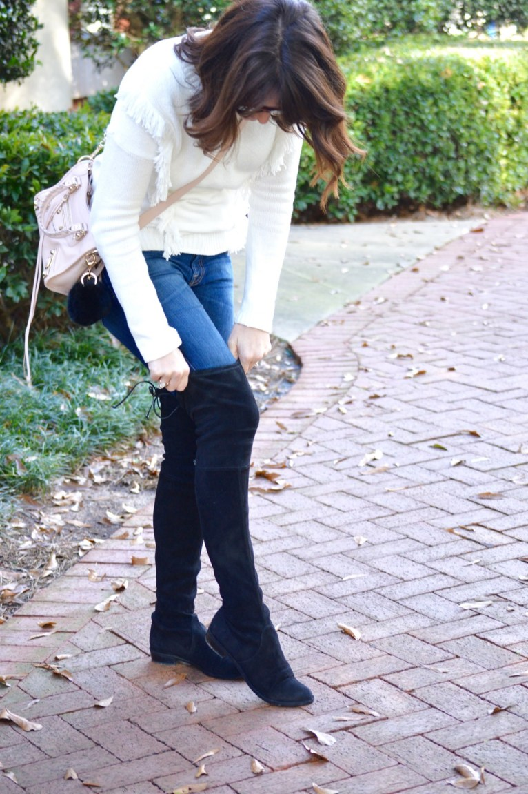 over the knee boots in black