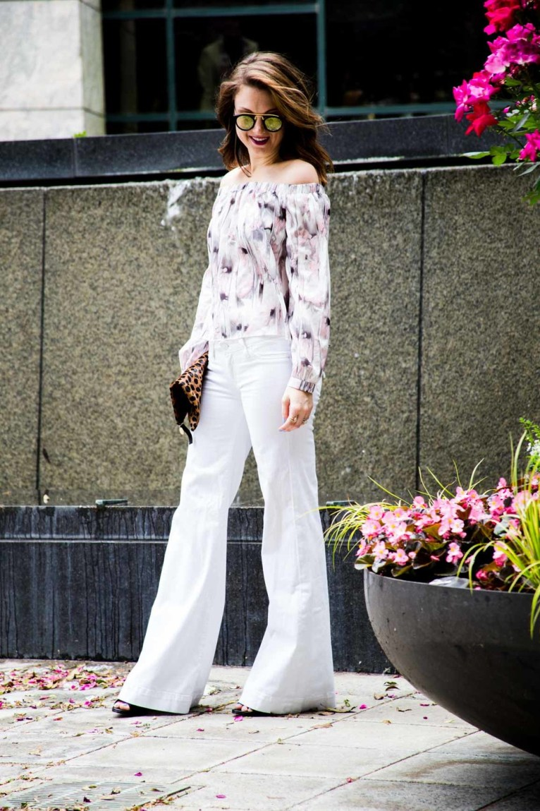 Off the Shoulder top and white flare jeans