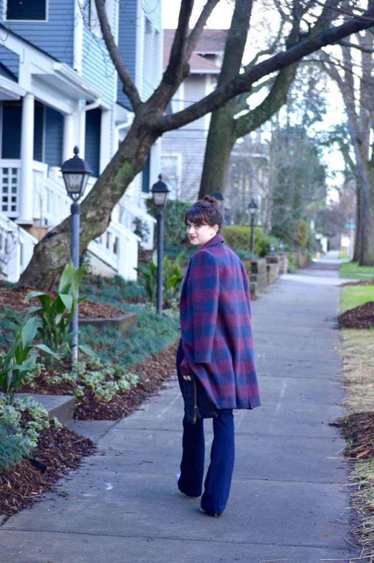 Striped coat and flared jeans