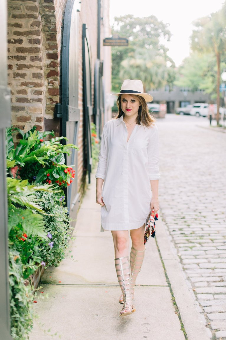 white shirt dress and gladiator sandals