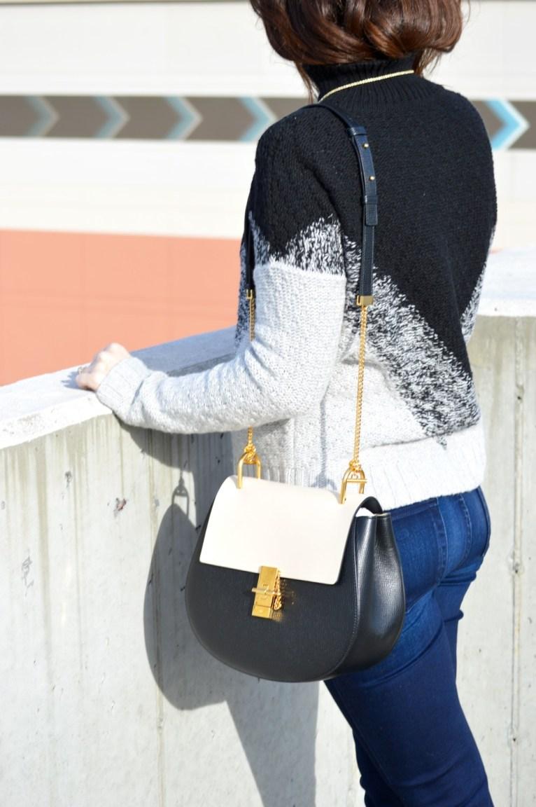 Chloe Drew Bag in black and white