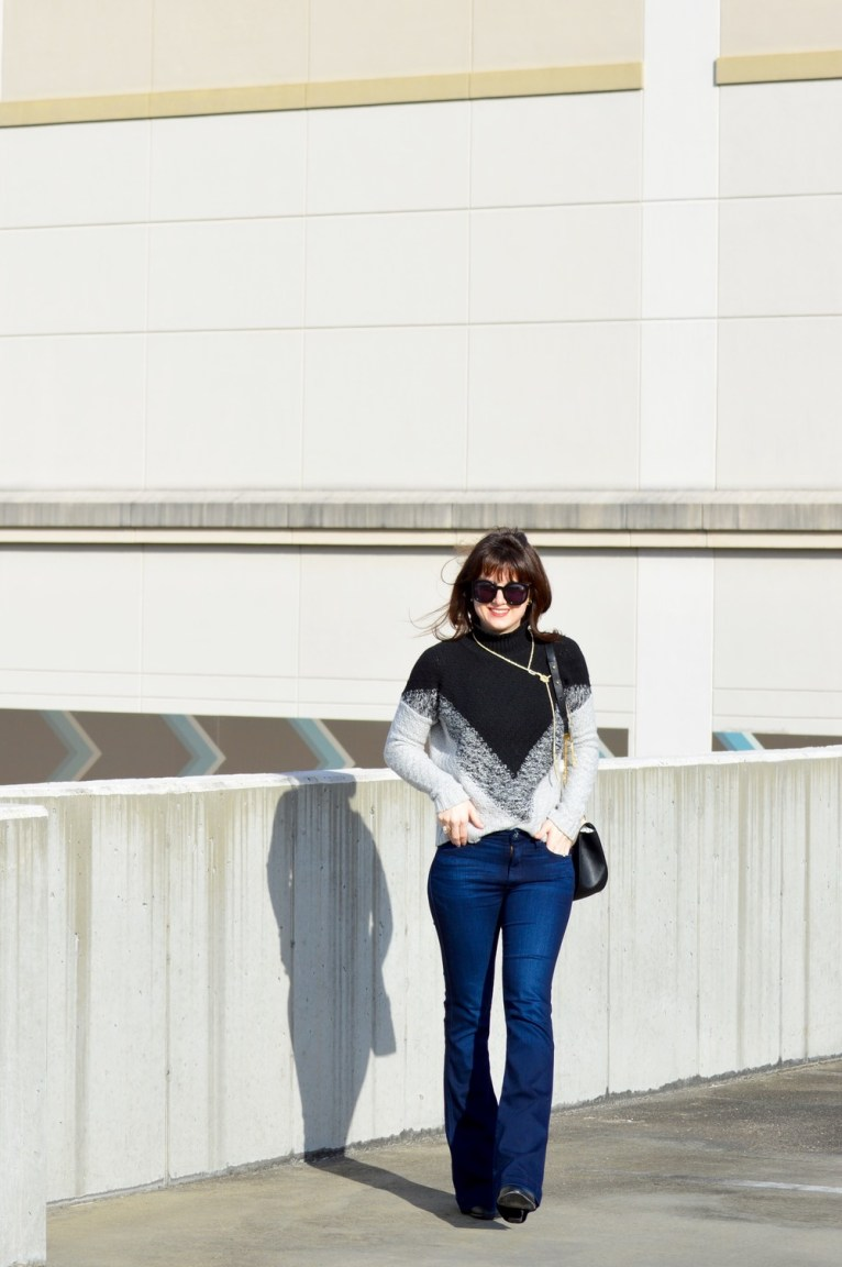 flare jeans and turtleneck