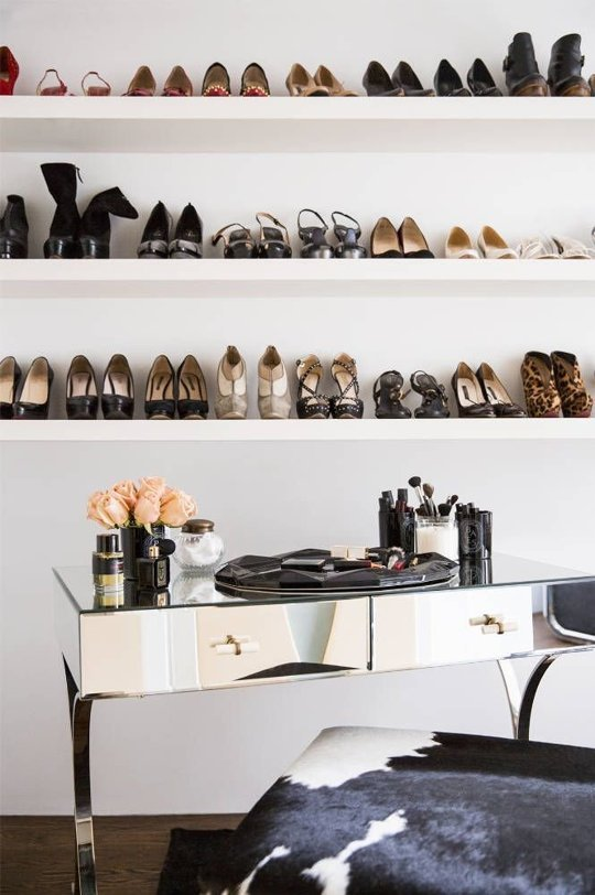 Shoes on a shelf