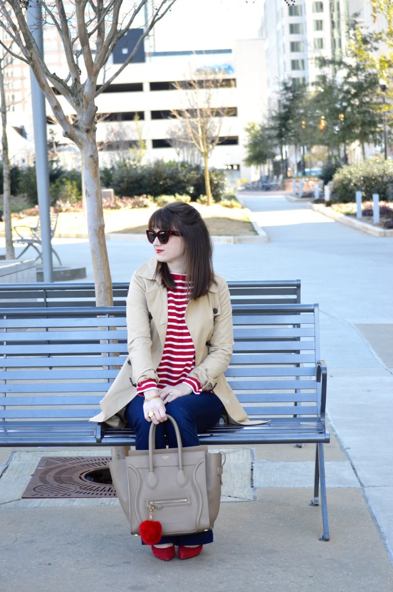 trench coat and flared jeans
