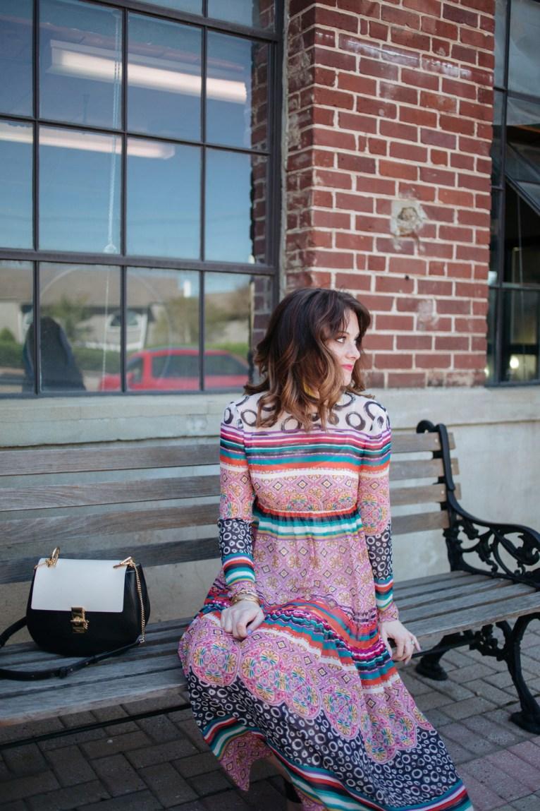 Chloe Drew Bag and Donna Morgan Sierra Maxi Dress