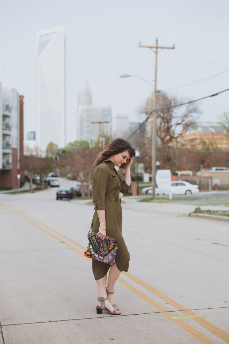 green midi shirdress