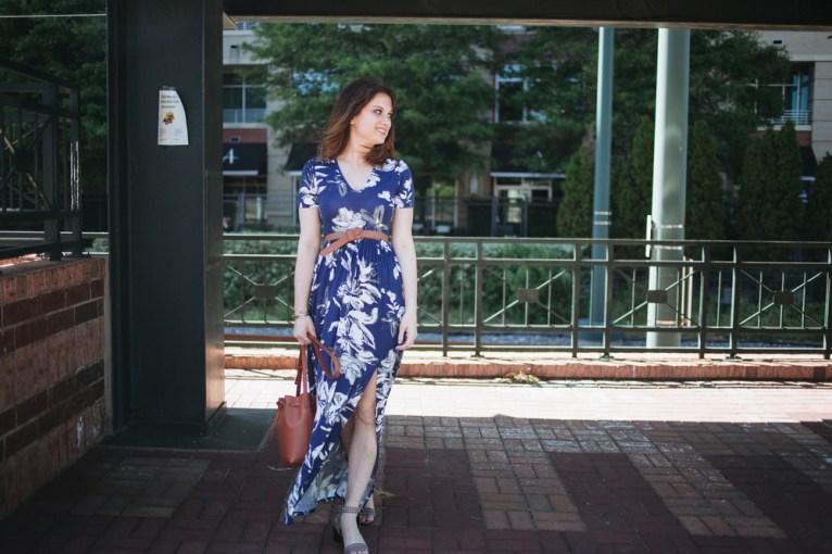 Floral Blue Maxi Dress || PolishedClosets.com