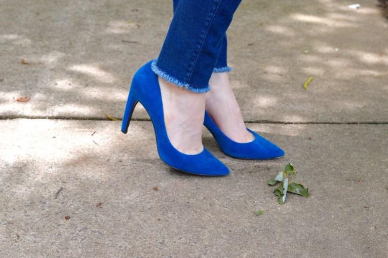 cobalt blue suede pumps