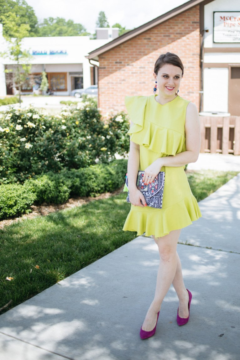 green dress with pink shoes
