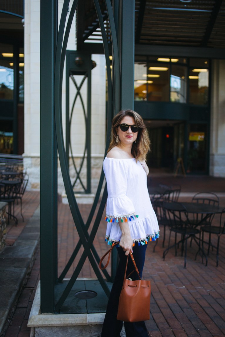 White Tassel Off-the-Shoulder Top // www.polishedclosets.com