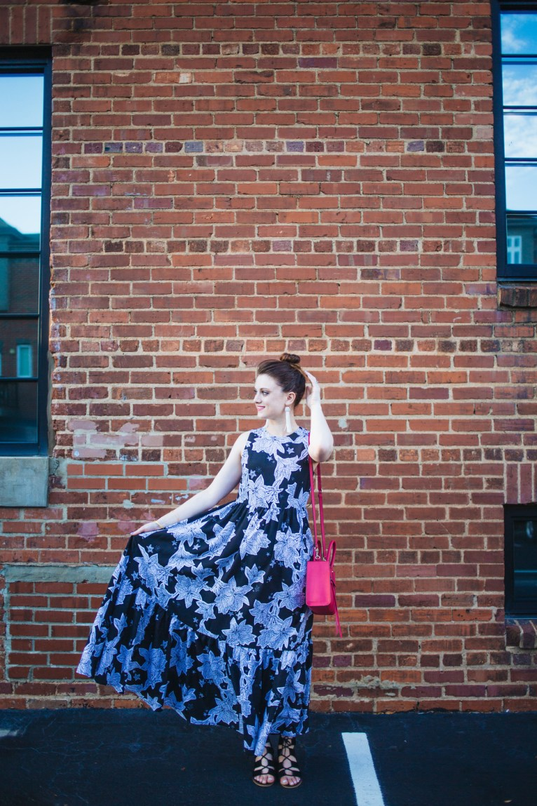 Black and White Floral Maxi Dress || @PolishedClosets